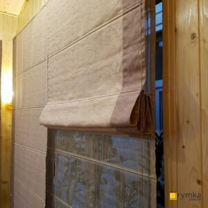 Римські штори Льон з відливом 4 бежевий (кант 5 пудровий) і Тюль Рейн 6 латте - 02