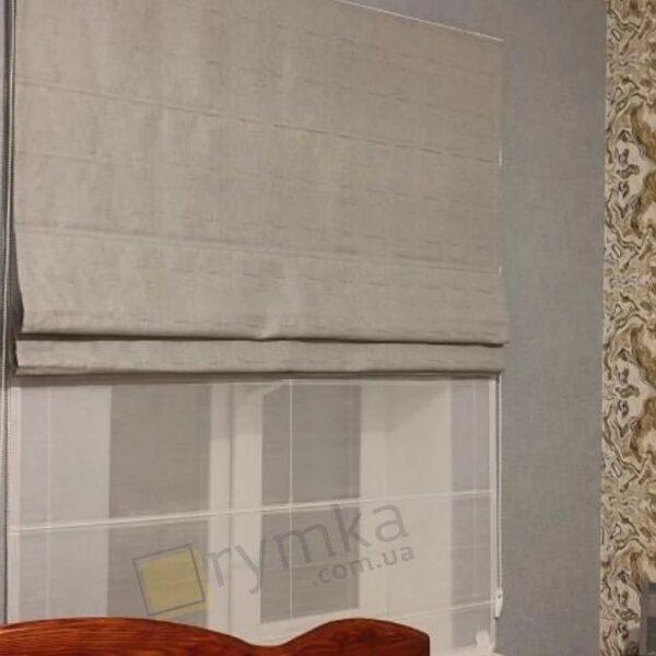 Римська штора в спальню Льон з відливом, сірий